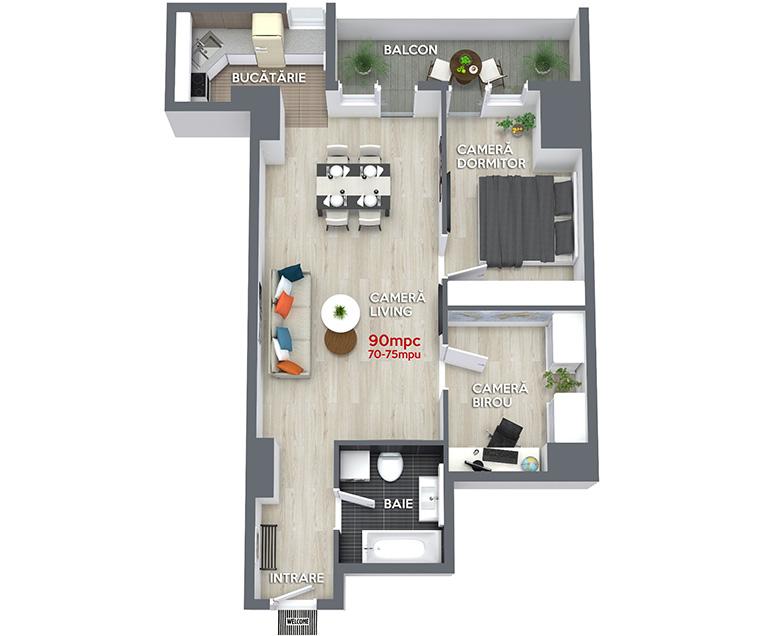 Schita 3D Apartament 3 camere standard