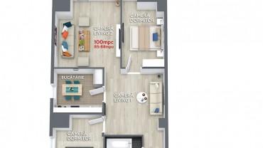 Plan apartament 4 camere ansamblul rezidential central